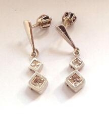 Stunning 925 Fine Sterling Silver Clear Stone Screw Back Earrings Vintage Retro