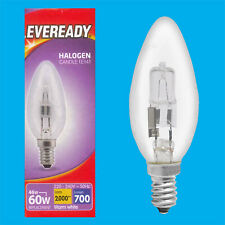10x 46W (=60W) Dimmable Halogen Clear Candle Light Bulbs SES E14 Lamps