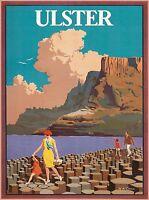 Ulster Belfast Ireland Irish Great Britain Vintage Travel Advertisement Poster