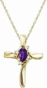 14K Yellow Gold Oval Amethyst & Diamond Cross Pendant (Chain NOT included)