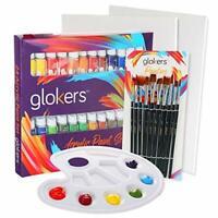 Acrylic Paint Set 24 Rich Pigments Colors & 10 Paintbrushes, 2 Pcs Canvas Panels