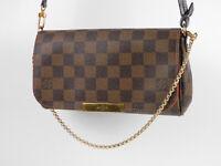 Auth LOUIS VUITTON Favorite PM Chain Shoulder Hand Bag Damier Ebene N41276 V4065