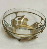 """Large Hand Crafted Solid Brass Footed Bowl Holder 11.5"""" x 5"""" W/ Glass Bowl India"""
