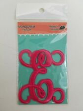 """Simply Southern iron on monogram patch """"E"""" hot pink"""