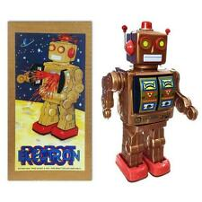 "TIN TOY ELECTRON ROBOT 12"" Copper Color Battery Operated Space Age Retro ME100"