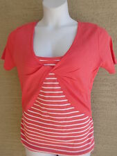 New Being Casual Cotton Knit S/STank & Twist Front  Shrug Twofer Top Coral 1X