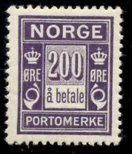 Norway #J12 (L18) 200ore Postage Due, high value in set, og, hinged, Vf
