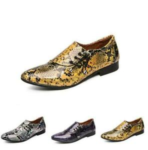 Mens Patent Leather Shoes Casual Pointed Toe Snakeskin Chunky Heel Lace Up Flats