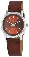 Excellanc Damenuhr Braun Silber Analog Kunst-Leder Armbanduhr X195027000204