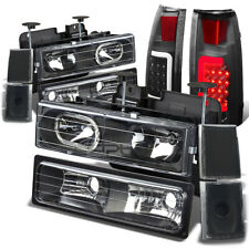 FOR GMT400 C10 BLACK 8PC HEADLIGHT+BUMPER+SIDE CORNER+SMOKED 3D LED TAIL LIGHT