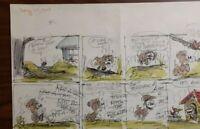 """Disney Studios Original Comic Strip Drawing of """"SCAMP"""" 8/27/78 by Bill Berg"""