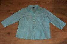 Ladies Striped Sky Blue Teal White Collared 3/4 sleeve Papaya Shirt size 20