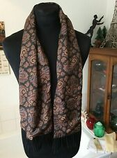 """1970's C&A wool backed faux silk black paisley scarf 51"""" x 9.5"""" excl. fringes"""