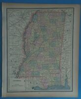 Vintage 1898MISSISSIPPI Map ~ Old Antique Original Atlas Map 20819