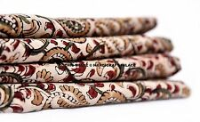 5 Yard Indian Natural Block Printed Fabric Handmade Cotton Jaipuri Beige Floral