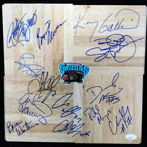 Vancouver Grizzlies 1995-96 Team Signed 12x12 Floorboard JSA Authenticated