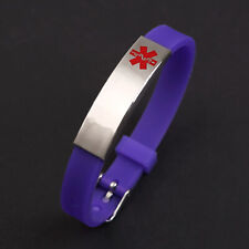 Personalized Medical alert ID bracelet Silicon emergency Wristband waterproof