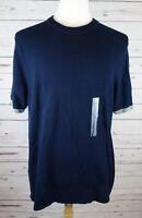 NEW Perry Ellis Men's Textured Knit Shirt Dark Sapphire Blue XL MSRP $98.00