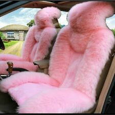 Super Soft Fluffy Genuine Australian Sheepskin Fur 2PC Pink Car Front Seat Cover
