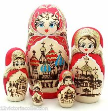 RUSSIAN Red Gold CHURCH WOOD BURN Hand Carved Hand Painted NESTING DOLL