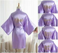 Satin Silk Personalized Wedding Robe Bridesmaid Bride Mother Dressing Gown blue