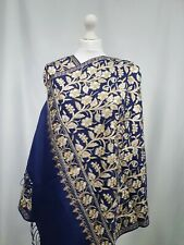 Kashmiri shawl embroidery floral embroidered cashmere wool scarf women's blue