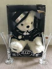 2000 Millennium Bear With Champagne Flutes