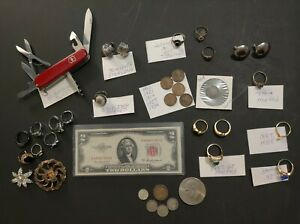 LARGE ANTIQUE JUNK DRAWER - GOLD - SILVER - RARE ITEMS - UNTESTED JEWELRY - ETC.