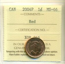 2004P Canada One Cent ICCS Certified MS-66; RED