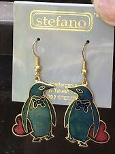 New Lovely Green Penguins W/ Red Heart Enamel Earrings By Stefno Hypoallergenic