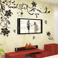 UN3F Flower Vine Removable Black Butterfly Wall Stickers Wall Decals Art Decor