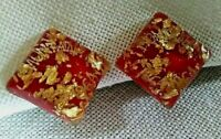 Vintage red and embedded gold flecks lucite confetti clip earrings