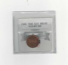 **1946**Coin Mart Graded Canadian Small One Cent, **MS-63** ICCS #RT 829