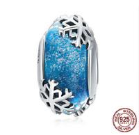 100% 925 Sterling Silver Winter Snowflake Blue Murano Glass Beads Charm pandora