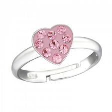 Childrens Girls 925 Sterling Silver Crystal Heart Ring Adjustable - Gift Boxed