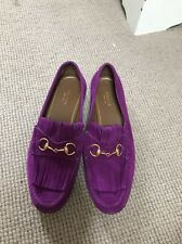 Gucci Pink Purple Magenta Suede Fringed Horsebit Loafers 38 Flats Shoes