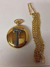 Hammer Pewter Effect Tool Emblem Gold Quartz Pocket Watch