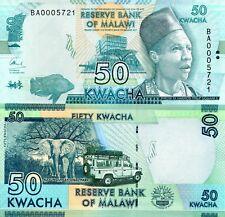 MALAWI 50 Kwacha Banknote World Paper Money aUNC Currency Pick p64 Note Bill