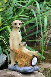 Garden Ornament Solar Powered Decorative meerkats Wheelbarrow indoor Outdoor