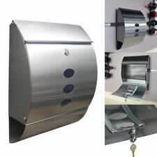 Stainless Steel Lockable Mailbox Postbox Home Post Mail Letter Box Large Modern