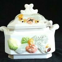 Vintage Ceramic Soup/Gravy Tureen w/Lid/Spoon Vegetable Design Preowned