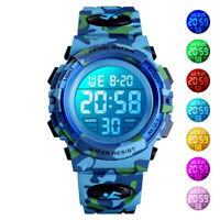 SKMEI Kid Boys 7-Color LED Luminous Digital Sport Watch Military Wristwatch 5ATM