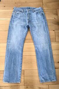 Mens Levi's 501 Light Blue Jeans W34 L31 Button Fly Issues, pls see description
