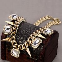 Damen Luxus Modeschmuck Collier Statement Halskette Kristall Strass Pop