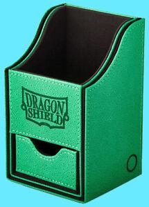 DRAGON SHIELD NEST PLUS 100 GREEN / BLACk CARD STORAGE BOX dice compartment case