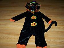 Size 12 Months Black Witch Cat Halloween Costume Velour Orange Trim Pumpkins EUC