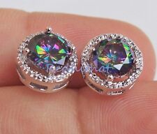 18K White Gold Filled - Round MYSTICAL Topaz Hollow Party Gemstone Stud Earrings