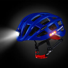 ROCKBROS Bicycle Bike Night Ultralight Helmet USB Recharge Size 57-62cm Blue