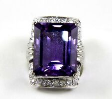 Huge Emerald Cut Amethyst Cocktail Ring w/Diamond Halo 14k White Gold 21.69Ct