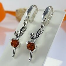 A459 Fee Elfe Mädchen Ohrringe 925 Silber Schmuck baltische Bernstein Perlen